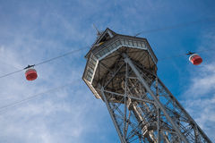 Transbordador Aeri in Barcelona. The tower with two cable cars for Transbordador Aeri del Port in Barcelona, Spain Stock Image