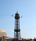 Transbordador Aeri del Port ropeway i port Barcelona Fotografering för Bildbyråer
