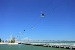 Transbordador del cable en la expo 98 en Lisboa Imagenes de archivo