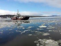 Transbordador del punto de la góndola en el invierno Imagen de archivo