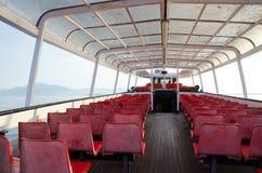 Transbordador en la estación del invierno, lago Garda imagen de archivo