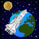 Transbordador espacial que está en órbita el Earth-1 Foto de archivo