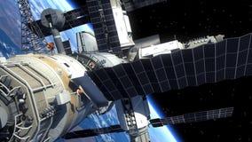 Transbordador espacial y estación espacial que está en órbita escena de Earth ilustración del vector