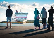 Transbordador que llega en Turku, Finlandia Foto de archivo libre de regalías
