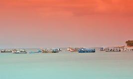Transbordadores parqueados en el mar Fotografía de archivo