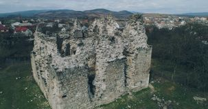 Aerial panoramic shot: Ruins of the ancient castle of the Knights Templar. Transcarpathia ruins XIII century According to one version castle erected stock video