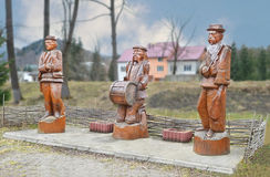 Transcarpathian, Hutsul musicians. Wooden items, figurines Stock Photography