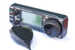 Transceiver radio station and microphone Stock Photo