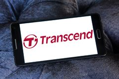 Transcend Information company logo. Logo of Transcend Information company on samsung mobile. Transcend is a Taiwanese company that manufactures and distributes Royalty Free Stock Image