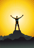 Transcendence. Vector illustration of shilouetted man standing in front of a sun disc on a mountain's peak Royalty Free Stock Photography