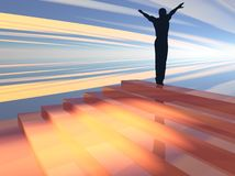 Transcending. 3D illustration of a figure at the top of a staircase both symbolizing success and achievement and receptive to wisdom Royalty Free Stock Image