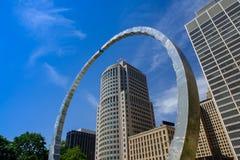 Transcending monument at Hart Plaza. Surrounding 150 West Jefferson skyskraper in Detroit, Michigan, USA royalty free stock image