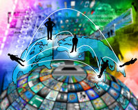 Transcontinental transmission of data Royalty Free Stock Image