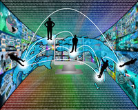 Transcontinental transmission of data. International Network of internet spread around the world on all continents Royalty Free Stock Photos