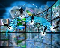 Transcontinentale transmissie van gegevens Stock Foto
