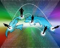 Transcontinentale transmissie van gegevens Stock Foto's