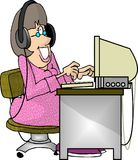 Transcriber. This illustration that I created depicts a woman with headphones transcribing onto a computer Stock Photo