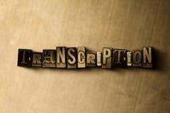TRANSCRIPTIE - close-up van grungy wijnoogst gezet woord op metaalachtergrond vector illustratie