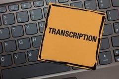 Transcription d'écriture des textes d'écriture Le processus écrit ou imprimé de signification de concept de la transcription expr Photo libre de droits