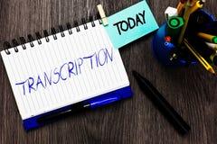 Transcription des textes d'écriture Version écrite ou imprimée de signification de concept de quelque chose copie sur papier de c images libres de droits