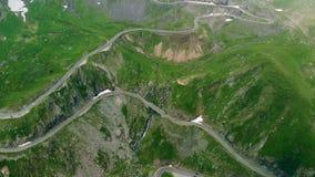 Transfagaras山路鸟瞰图在喀尔巴阡山脉的Transylvanian,罗马尼亚 股票录像