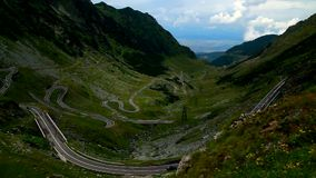 TRANSFAGARASAN HIGHWAY WITH HUGE TRAFFIC. AND LIGHT SPOTS SECOND VIDEO stock video