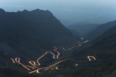 Transfagarasan mountain hihgway at night Royalty Free Stock Photo