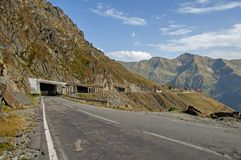 Transfagarasan mountain road with tunnels at high altitude Stock Images