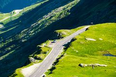 Transfagarasan mountain road in the valley. View from above. beautiful transportation scenery in summertime royalty free stock photography