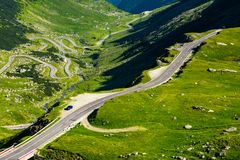 Transfagarasan mountain road in the valley. View from above. beautiful transportation scenery in summertime royalty free stock image