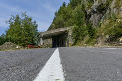 Transfagarasan mountain winding road whit tunnels.Low angle view. Stock Images