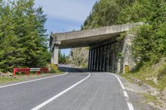 Transfagarasan mountain winding road whit tunnels. Royalty Free Stock Images