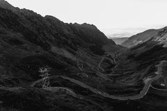 The Transfagarasan mountains and the road that leads to them.  Stock Photo