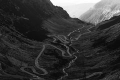 The Transfagarasan mountains and the road that leads to them.  Royalty Free Stock Images