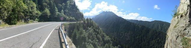 Transfagarasan panorama. Panorama of Transfagarasan road. The Transfăgărășan is a paved mountain road crossing the southern section of the Carpathian Stock Image