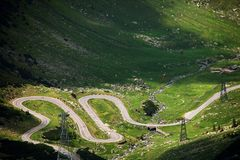 Transfagarasan, the paved mountain road crossing the Carpathians and connecting Transylvania and Wallachia regions in Romania. Crossing Carpathian mountains royalty free stock photography