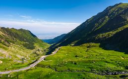 Transfagarasan road is gorgeous travel destination. Lovely mountainous landscape and popular tourist attraction of Romania stock photos