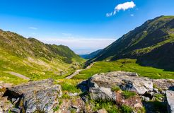 Transfagarasan road is gorgeous travel destination. Lovely mountainous landscape and popular tourist attraction of Romania royalty free stock image