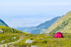 The Transfagarasan road pass. Tent on Transfagarasan road pass, Romania royalty free stock photos