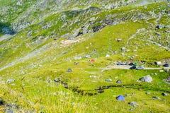 The Transfagarasan road pass. Tent on Transfagarasan road pass, Romania stock photos