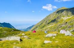 The Transfagarasan road pass. Tents on Transfagarasan road pass, Romania stock photography