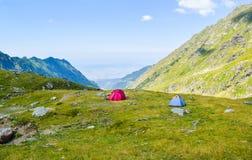 The Transfagarasan road pass. Tents on Transfagarasan road pass, Romania stock photo