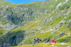 The Transfagarasan road pass. Tents on Transfagarasan road pass, Romania stock images