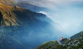 A building on the edge of a mountain road - Transfagarasan road in Romania. stock images
