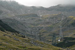 Transfagarasan road from Romania on a foggy day. Stock Images