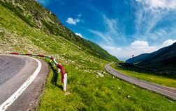 TransFagarasan road in Romania mounatins. Lovely transportation background in summer time stock images