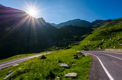 TransFagarasan road in Romania mounatins. Lovely transportation background in summer time Stock Photography