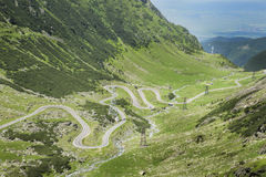 Transfagarasan Road, Romania. View on the intertwined Transfagarasan mountain road in Romania - one of most famous roads in Europe Stock Photos