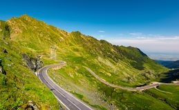 Transfagarasan road serpentine in the valley. Beautiful transportation scenery in mountains of Romania. location southern Carpathians stock photos