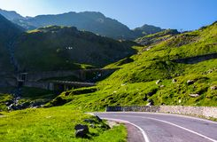 Transfagarasan road up hill to the mountain top. Beautiful transportation scenery in mountains of Romania. location southern Carpathians royalty free stock image